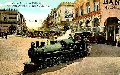 The Venice Miniature Railroad Loaded Pengers At Its Turn Around Point Windward Avenue 1906